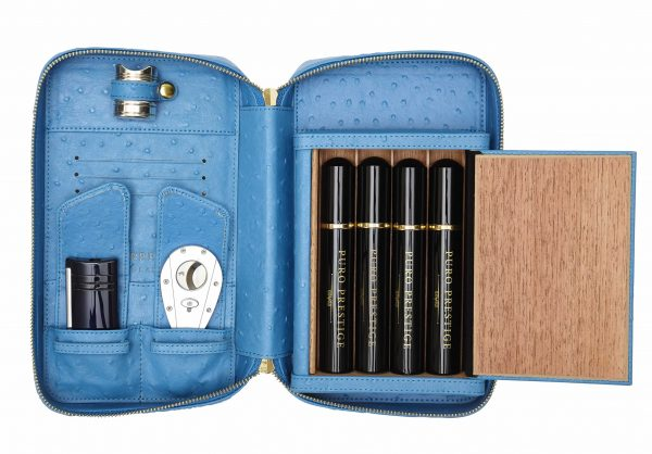 Puro Cigar Travel Case: Blue Leather with Cigar Rest