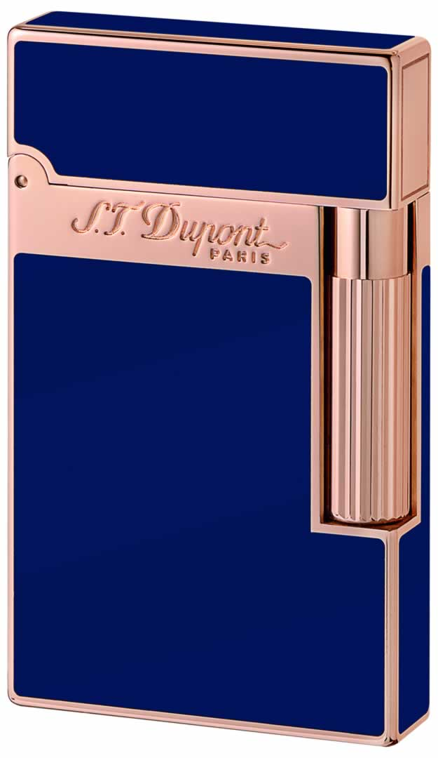 ST Dupont Lighter - Ligne 2 - Blue Chinese Lacquer and Pink Gold
