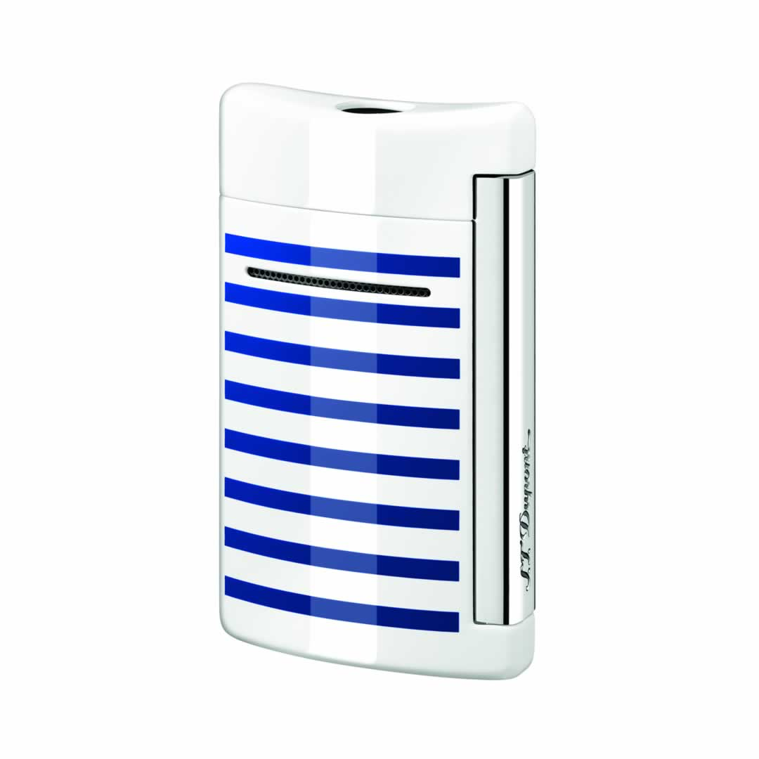 ST Dupont Lighter - Minijet - White with blue stripes