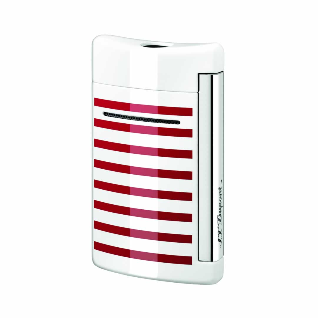 ST Dupont Lighter - Minijet - White with red stripes