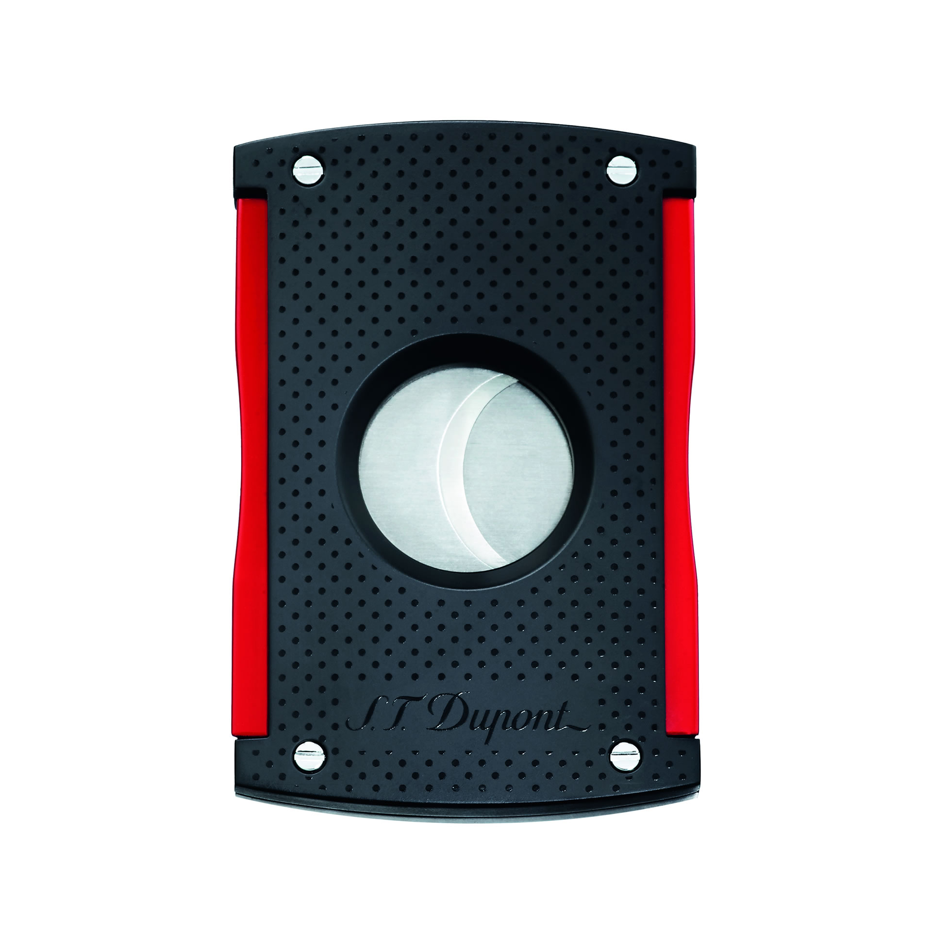 ST Dupont Maxijet Cigar Cutter - Punched Black and Red