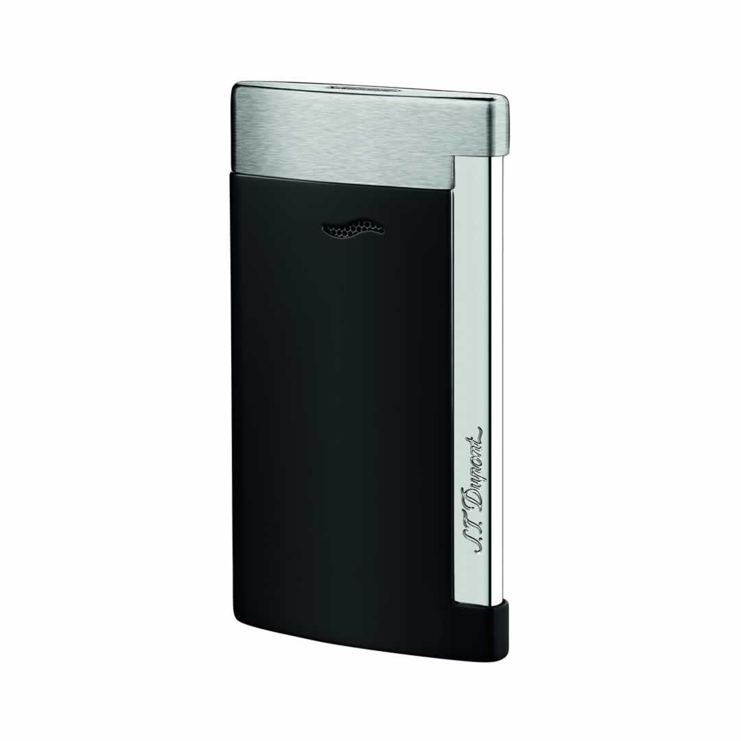 ST Dupont Lighter - Slim 7 - Brushed Chrome and Matt Black