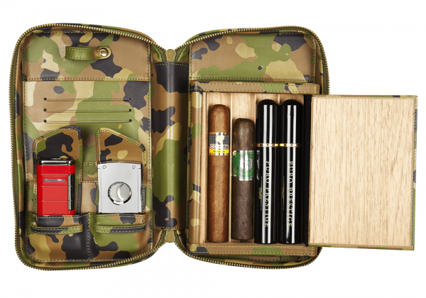 Puro Cigar Travel Case: Camouflage Finish with Cigar Rest