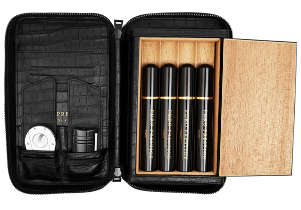 Puro Cigar Travel Case: Black Leather